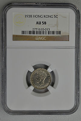 Coin George V  Hong Kong   5 Cent 1938  NGC  AU58