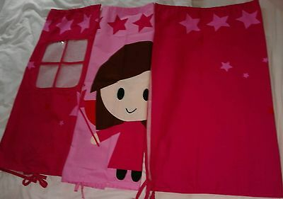 Play Curtains for Mid-Sleeper Bed - Girls Pink Fairy House by Flexa