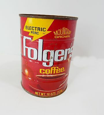 Metal Folger's Coffee Can 16 oz Empty Craft Uses Home Decor Country Wedding Red