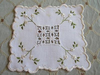 """Antique Vtg ROYAL SOCIETY SILK Embroidered 5x6"""" Rectangle Doily w/ Needle Lace"""