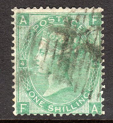 1865 - 67 SG 101 1/- Green Plate 4 Fine Used  Cat £240.00