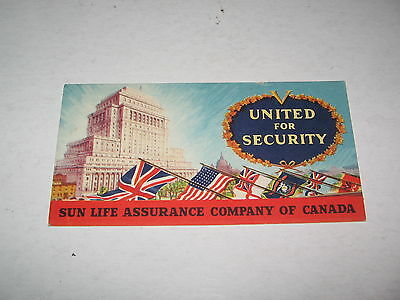 1940s SUN LIFE ASSURANCE CO of CANADA UNUSED BLOTTER GREAT GRAPICS ,FLAGS ,