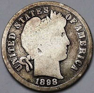 1898 Barber 90% Silver Dime, 10 Cents - Free Combined S/H