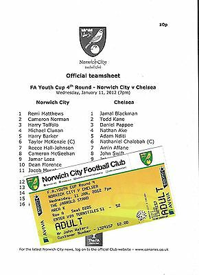 Football Teamsheet plus Ticket NORWICH CITY v CHELSEA Jan 2012 FA Youth Cup