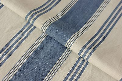 Ticking French fabric denim antique indigo blue stripes 18th 1700's 23X46