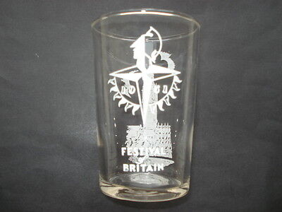 1951 Festival Of Britain Souvenir Glass Beaker With Picture Of Big Ben