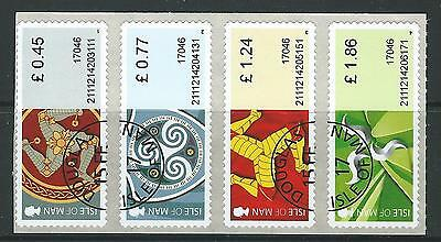 Isle Of Man 2017 Treskelion Definitives Post And Go Strip Of 4 Fine Used