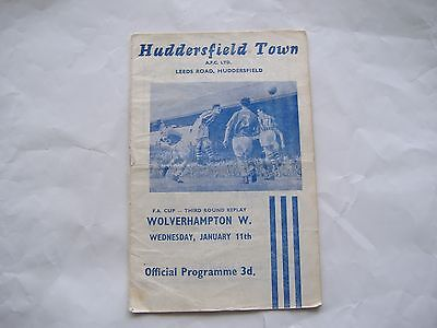 Huddersfield Town, v Wolves,  FA Cup Round 3 Replay, 11/1/1961,