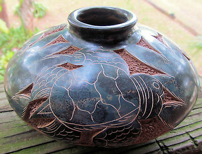 Sea Turtle Handcrafted & Carved Art Pottery Vase Signed South American