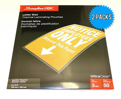 """GBC Letter Size (9"""" x 11.5"""") 3Mil Thick Thermal Laminating Pouches - 2 x 50 Pack"""