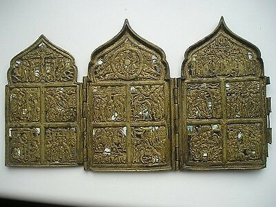 Antique XIXc Russian Bronze  enamel icon 12 Feasts
