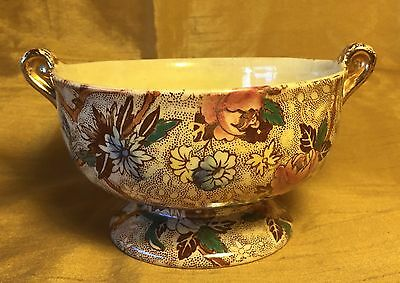 Vtg MALING Newcastle on the Tyne 6527 Painted Floral Chintz Double Handle Bowl