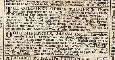 The Coloured Opera Troupe & The Ohio Minstrels In London Ads 1859