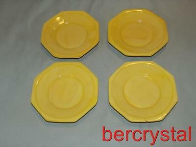 "4 Vintage Akro Agate Octagonal Yellow Large Sized Saucer Plates 3 3/8"" Across"