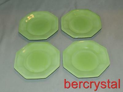 "4 Vintage Akro Agate Octagonal Green Large Sized Plates 4 1/4"" Across"