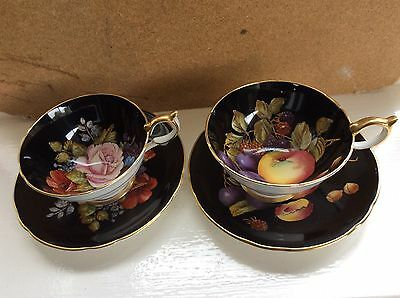 Two Vintage Aynsley Bone China Cups & Saucers