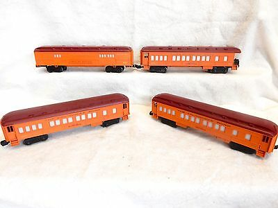 Four Lionel Milwaukee Road passenger cars-O gauge-lighted-nice cars-no boxes!-ex
