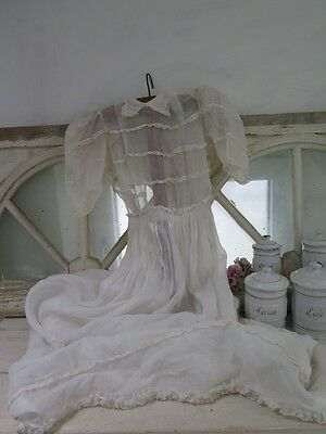 FRANKREICH uraltes Kleid KOMMUNION Brautkleid french BROCANTE french Shabby