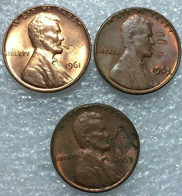 Lot of (3) Vintage Counterstamped Lincoln Cents Smoking Pipe Masonic Free Mason