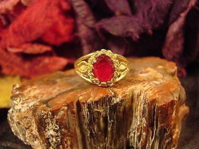 ~Beautiful Garnet Ring & Witch Written Protection Spell Scroll~Metaphysical Vess