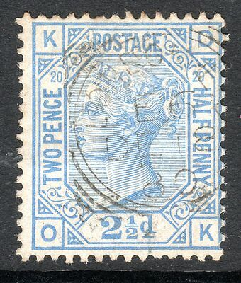 1873 - 80 SG 142 2&1/2d Blue Plate 20 Very Fine Used. cat £50.00