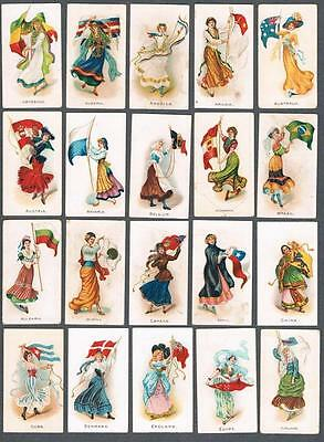 1900's ITC C91 Flag Girls Of Nations Tobacco Cards Complete Set of 50
