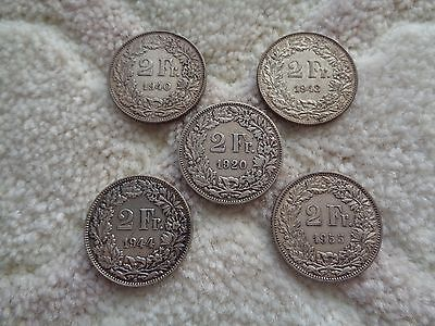 1920 1940 1943 1944 1955  Switzerland 2 Francs 5 silver coins lot