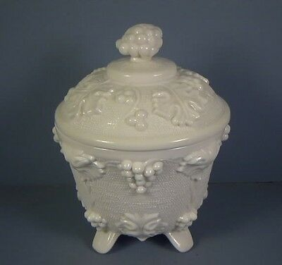 """5.5"""" Covered Candy Jar, Grape and Lear Pattern, Shell Pink Milk Glass, 1957-59"""