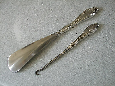 Pair Of Antique Sterling Silver Button Hook And Shoe Horn - Stamped Sterling