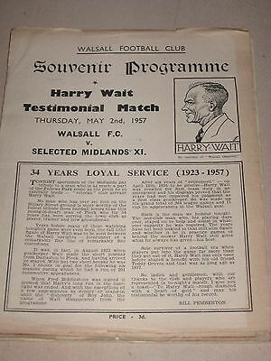 2.5.1957 Harry Wait Testimonial Walsall v Selected Midlands XI