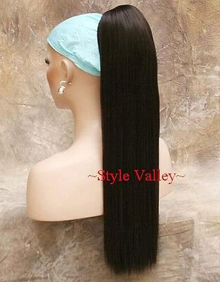 Dark Brown Straight Ponytail hairpiece Extension Claw Clip in/on Hair piece NEW
