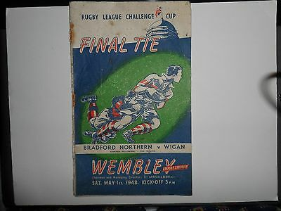 1948 RUGBY LEAGUE FINAL OFFICIAL  PROGRAMME BRADFORD NORTHERN  v WIGAN
