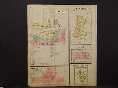 Missouri, Monroe Cty. Map, Monrore & Indian Creek  Dble Sided & Page 1917 K6#53
