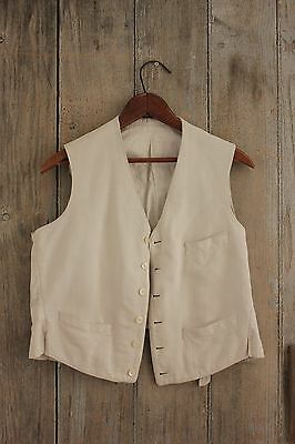 Men's vest waistcoat French chore work wear white clothing vintage / antique old