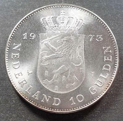 1973 Kingdom Of The Netherlands Silver 10 Gulden (CBU)