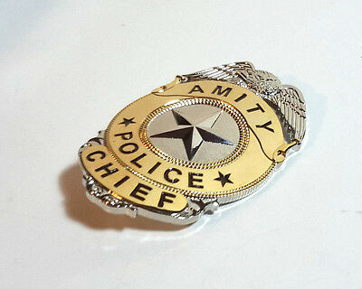 "Jaws Movie Amity Police Chief Metal Badge- Full Size 3"" Tall-  UNUSED"