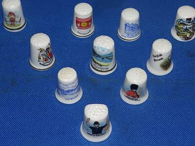 Lot of 10 Different Places China Thimbles