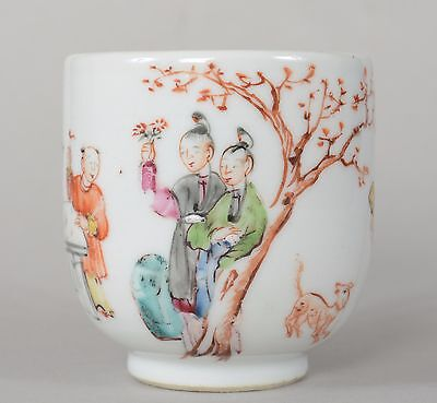 c1750 Antique Chinese Export Porcelain Cup Enamel Figures & Dog Qianlong