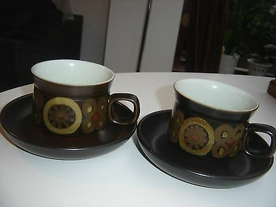 Denby Pottery ARABESQUE Pair of Tea or Coffee Cups and Saucers