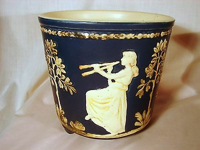 Old Weller Blue Ware Lady Playing Flute 6-1/2in 3-Footed Jardiniere, w/Hairlines