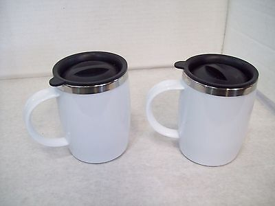 Set of Two Stainless Steel & Plastic Travel Mugs with Lids 8 Ounce SIze