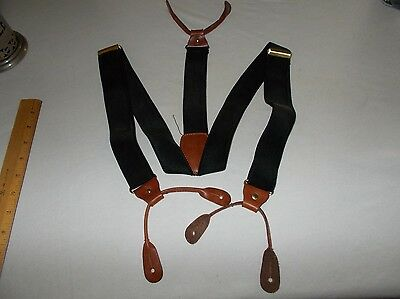 Black 1 1/4 width elastic with leather ends Men's adjustable button suspenders