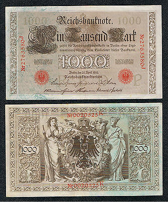 Deutschland Germany 1000 Mark Reichsmark 1910 Ro. 45 - rotes Siegel -