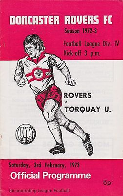 Football Programme DONCASTER ROVERS v TORQUAY UNITED Feb 1973