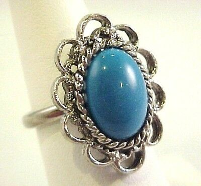 Vtg Dome Fx Turquoise Cab Silver Tone Ring 5.5 Adjustable
