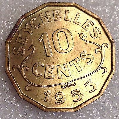 Seychelles 10 Cents 1953 Great Coin! #5555