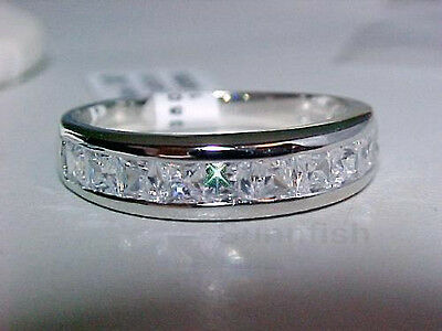 2.0 Ct Princess Cuts 925 Sterling Silver Half Eternity Band Ring Size 5