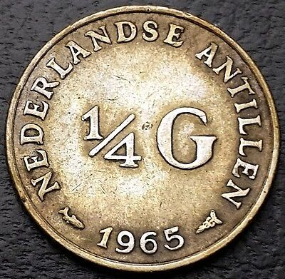 1965 Netherlands Antilles 1/4 Gulden 0.640 Silver Coin KM# 4 - Great Condition