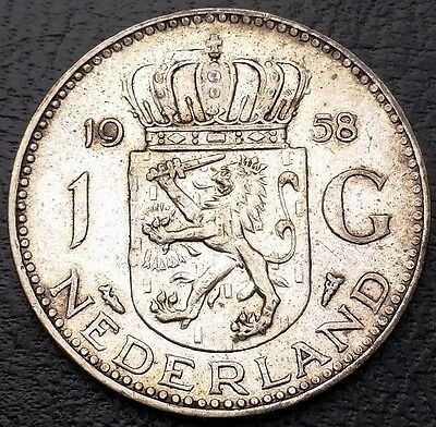 NETHERLANDS: 1958 1 Gulden .720 Silver Coin, KM# 184 - Free Combined S/H