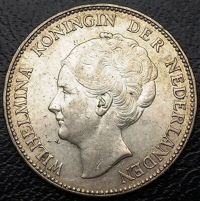 NETHERLANDS: 1940 1 Gulden .720 Silver Coin, KM# 161 - Free Combined S/H